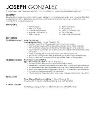 Automotive Mechanic Resume Objective Auto Technician Sample Lube