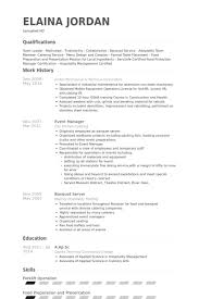 Banquet Resume Banquet Manager Resume Sample Two