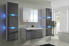 badmöbel set new grau hochglanz weiß keramik waschbecken badezimmer led beleuchtung badezimmermöbel keramikbecken