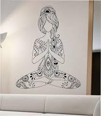 Meditating Yoga Wall Decal Flower Namaste Vinyl Sticker Art Decor Bedroom Design Mural Buddha Living Room