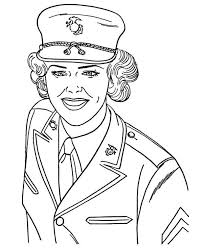 US Navy Military Woman Soldier In Armed Forces Day Coloring Page