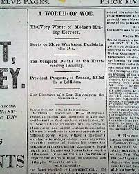 Get Quotations STELLARTON Nova Scotia Canada MINE Mining Explosion DISASTER 1880 Old Newspaper