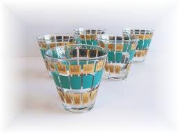 Barware Tumblers Fred Press Gold AQUA Color Mid Century AToMiC Eames Era Vintage Estate 6500