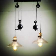 2 Wheels Kitchen Light Vintage Glass Pendant Pulley Lamps Retro Industrial Dining Room Lamp E27 Led Lamparas Track Lights