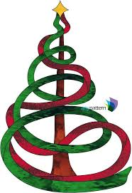 Ribbon Christmas Tree Stained Glass Pattern