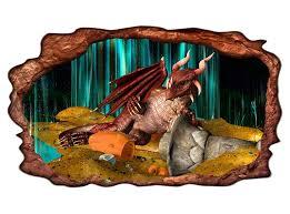 3d wandtattoo drache schatz kinderzimmer bild selbstklebend wandbild sticker wohnzimmer wand aufkleber 11h1215 3dwandtattoo24 de