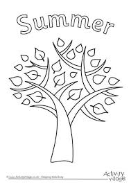 Summer Tree Colouring Page