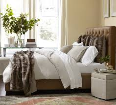Black Leather Headboard Bed by Gorgeous Faux Fur Throw In Bedroom Contemporary With Bed Headboard