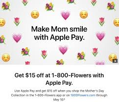 Apple Pay Promo Offers $15 Off 1-800-Flowers In Celebration ... 1800 Flowers Coupons Boston Flower Delivery Promo Codes For 1800flowers Florists Thanks Expectationvsreality How Do I Redeem My 1800flowerscom Discount Veterans Autozone Printable Coupon June 2019 Sears Code Online Crocs Promo January Carters Canada Airsoft Gi Coupons Promotional Flowerscom 10 Off Amazon White Flower Farm Joanns 50 Ares Casino Flowerama Uber Denver Jetblue December 2018 Kohls 20 Available September