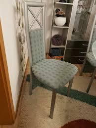 esszimmerstühle 6 stück metall stoff neuwertig stühle glastisch