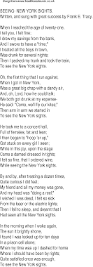 Old Time Song Lyrics for 11 Seeing New York Sights