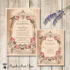 Printable Wedding Invitation Vintage Pink Roses Rustic And Butterflies
