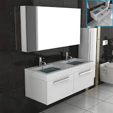 doppel waschtisch badmöbel set mit spiegelschrank weiss