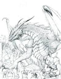 Realistic Dragon Coloring Pages For Adults A