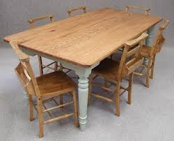 Oak farmhouse kitchen table with French Grey painted legs & 6