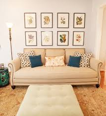 Framed Botanical Prints Behind Sofa