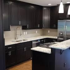 Contemporary Kitchen White Granite Countertops Dark Cabinet Design Pictures Remodel Decor And Ideas