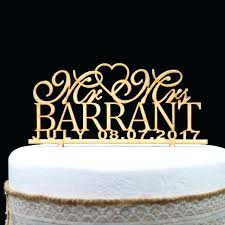 Customized Wedding Cakes Rustic Cake Topper Personalized Wooden Last Name And Date