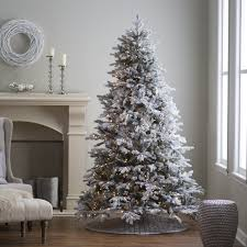 Pre Lit Pencil Christmas Trees by 7 5 Ft Pre Lit Natural Cut Flocked Vermont Spruce Christmas Tree