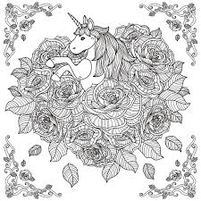 Black And White Pattern For Coloring Book Adults With Adorable Unicorn Roses Background