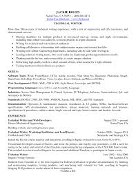 Skill Resume Free Sample Junior Technical Writer