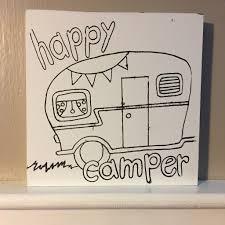 6x6 DIY Unpainted Wood Canvas Happy Camper