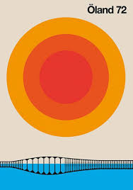 1960s Swedish Inspired Country Graphic Design Poster By Bo Lundberg