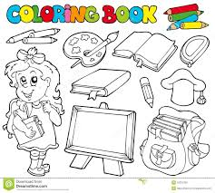 Coloring Book For College Crybabies With School Theme Royalty Free Stock Image