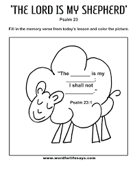Good Shepherd Bible Coloring Pages Sheets Page The Lord My Free Full Size