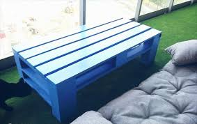 Recycled Pallet Blue Painted Coffee Table