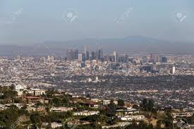 100 Hollywood Hills Houses Aerial View Of Homes With Smoggy Downtown Los