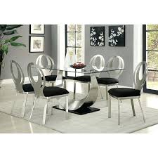Dining Room Tables Set Contemporary Silver And Black Table Chairs