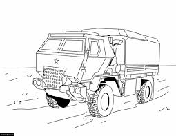 Military Off Road Truck Printable Coloring Page