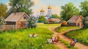 Beautiful Painting Village Wallpaper Hd