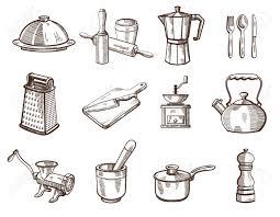 collection d ustensiles de cuisine détaillées sur un fond blanc