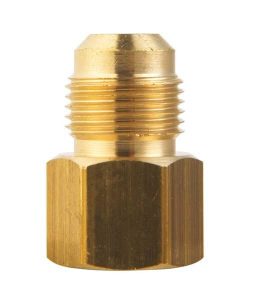 "Jmf Female Brass Flare Adapter - Yellow, 5/8"" x 1/2"""