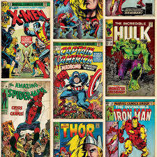 Vintage Superhero Wall Decor by Amazon Com Marvel Comics Action Heroes Wallpaper 52cm X 10m From