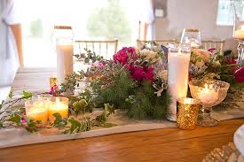 Our Vision For The Reception Was Details We Chose To Go With A Farm Table And Chiffon Runner Gold Rimmed Plated