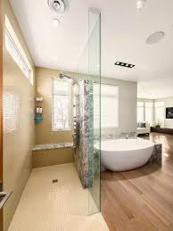 standalone tub in master bedroom open bathroom concept for