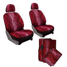 Oxgord Trim 4 Fit Floor Mats by 10pc Full Set Red Leopard Print Car Bucket Seat Covers Floor Mats
