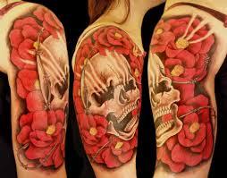 Skull With Flowers Half Sleeve Tattoo