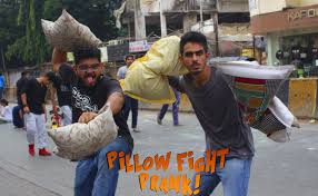 Pillow fight prank