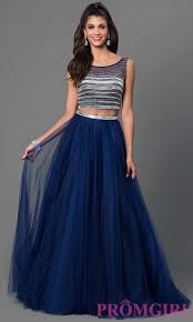 two piece navy blue floor length dress promgirl
