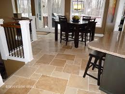 Walnut Brushed Chiseled Travertine Tile Flooring Tiles Traditional Dining Room Detroit