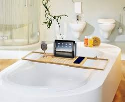 designs mesmerizing bathtub caddy with reading rack and wine
