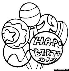 Birthday Balloons Coloring Page