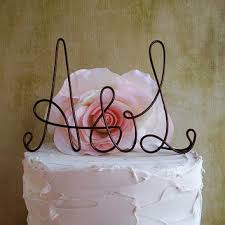 Personalized Initials Wedding Cake Topper Rustic Shabby Chic