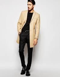 noak wool overcoat in super skinny fit in natural for men lyst