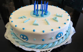 Cake decorating with sugarpaste or fondant blue and white