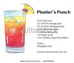 Hand Drawn Watercolor Cocktail Planters Punch Stock Illustration